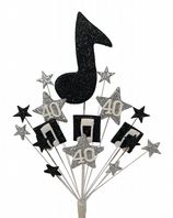 Music notes 40th birthday cake topper decoration in black and silver - free postage